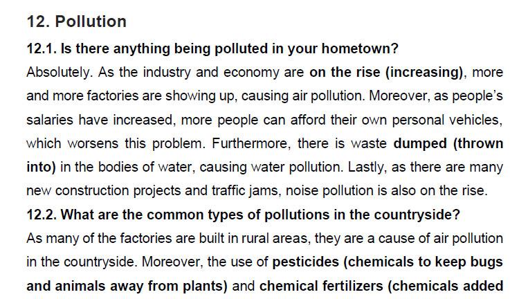 نمونه اسپیکینگ آیلتس pollution