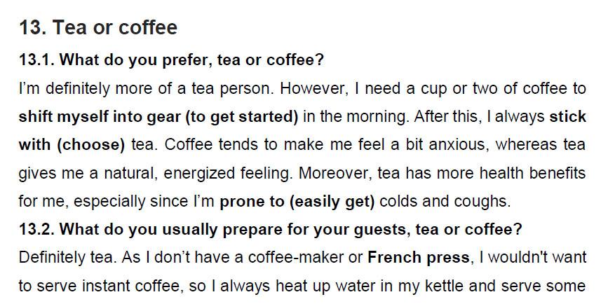 نمونه اسپیکینگ آیلتس tea or coffee