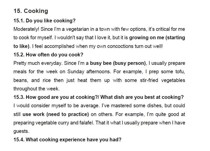 نمونه اسپیکینگ آیلتس cooking