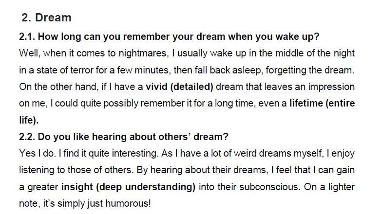 نمونه اسپیکینگ آیلتس dream