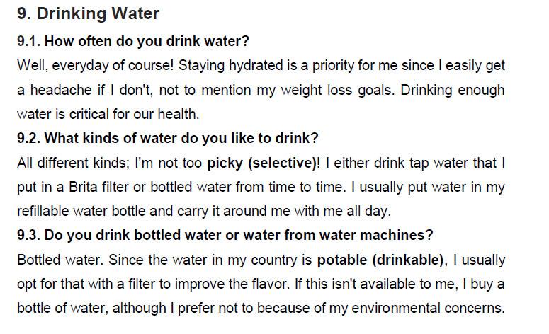 نمونه اسپیکینگ آیلتس drinking water