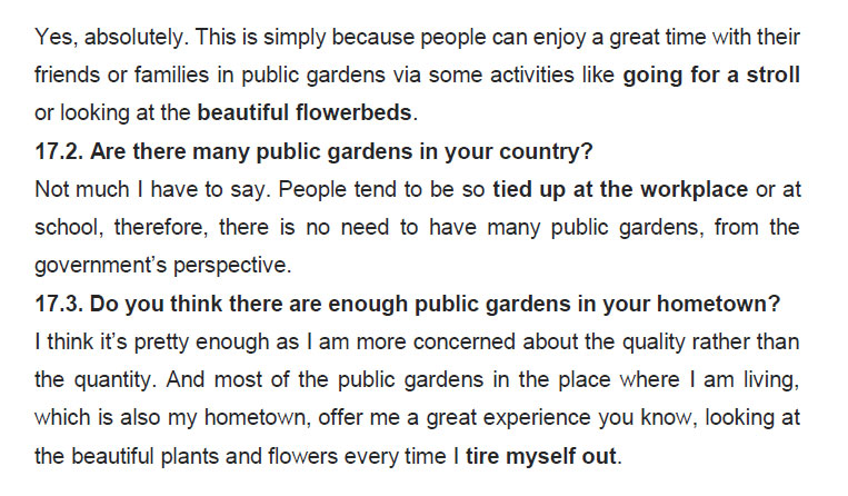 نمونه اسپیکینگ آیلتس public gardens