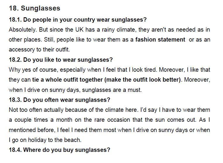 نمونه اسپیکینگ آیلتس sunglasses