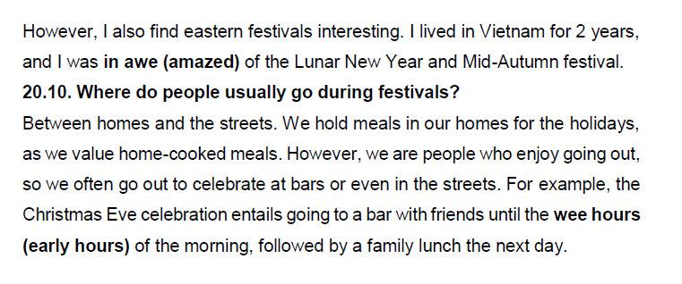 نمونه اسپیکینگ آیلتس travel and festival