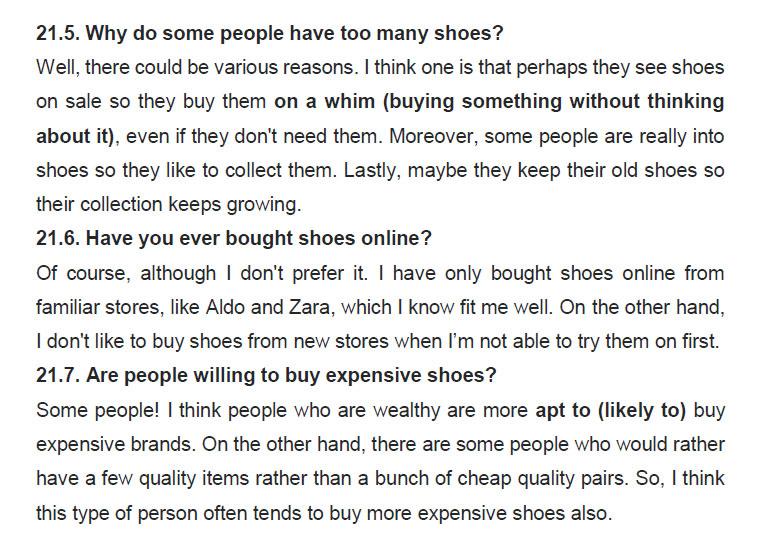 نمونه اسپیکینگ آیلتس shoes