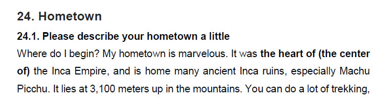 نمونه اسپیکینگ آیلتس hometown