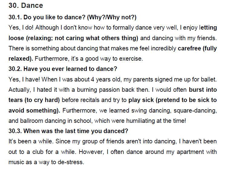 نمونه اسپیکینگ آیلتس dance