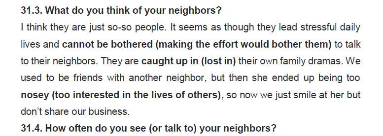 نمونه اسپیکینگ آیلتس neighbors