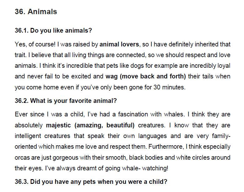 نمونه اسپیکینگ آیلتس animals